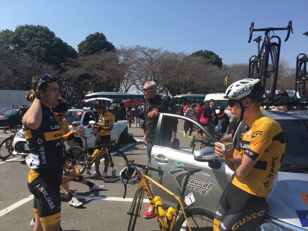 Pro cyclists casually chatting