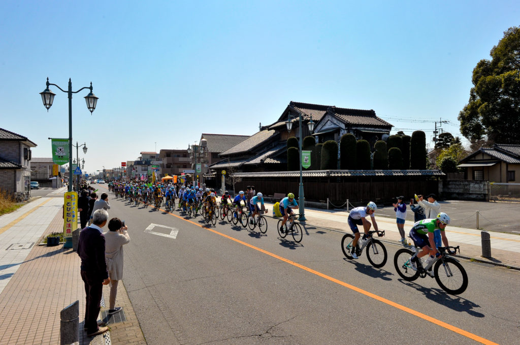 Professional cyclists on road in Japan