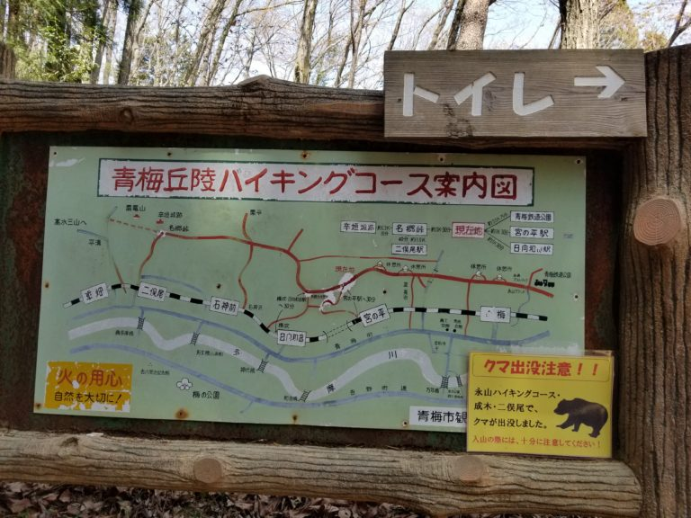 Trail sign warning hikers of bears