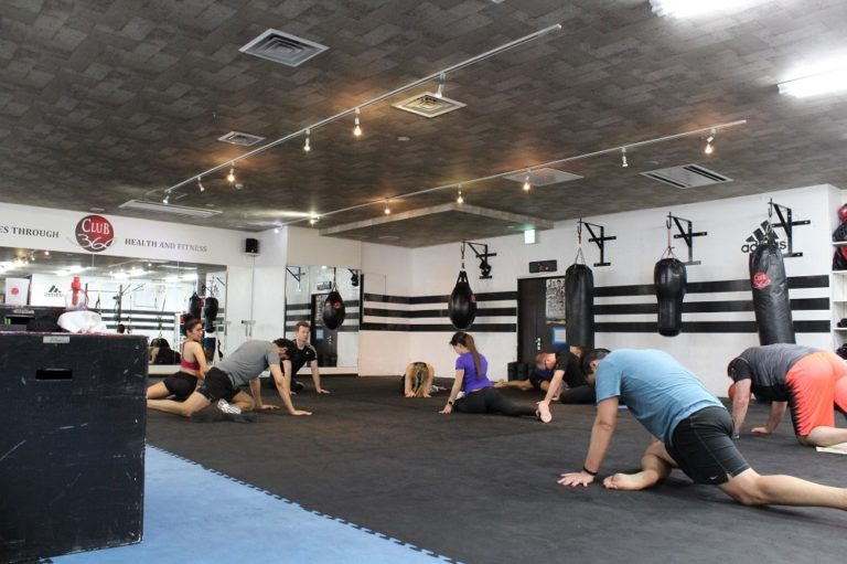 Group fitness class at gym