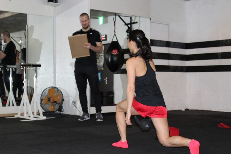 Female at gym exercising