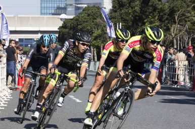 Cyclists racing in a crit