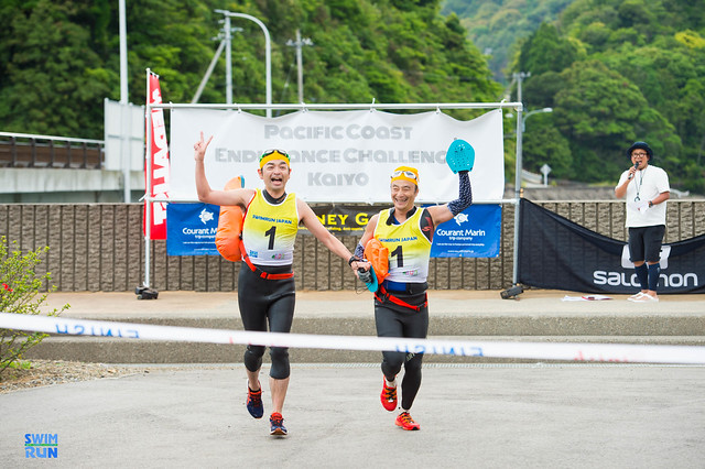 Finishers at a swimrun in Japan