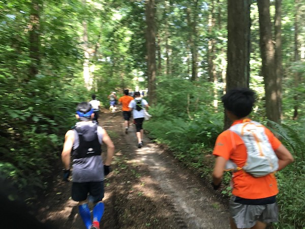 Trail runners in Akagi forest