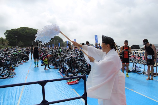 Shinto priest blessing the transition area