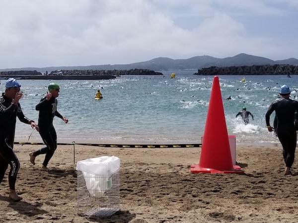 Triathletes swimming in Japan