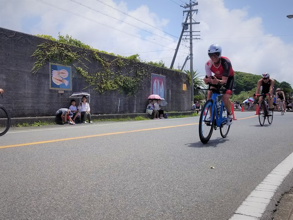 Triathlete on TT bike in Japan