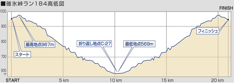 Elevation profile for Usui Pass Run