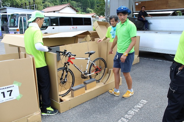 Bicycles packed in box
