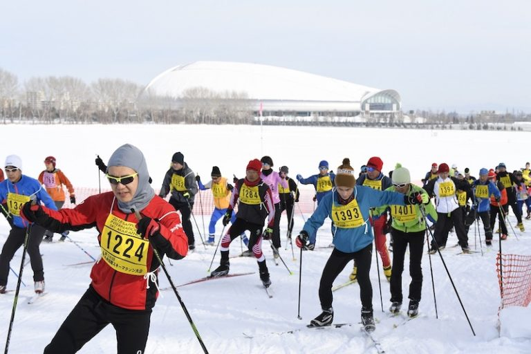 Group of people cross country skiing