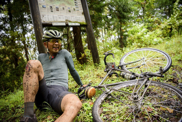 cyclist resting during Grinduro Japan