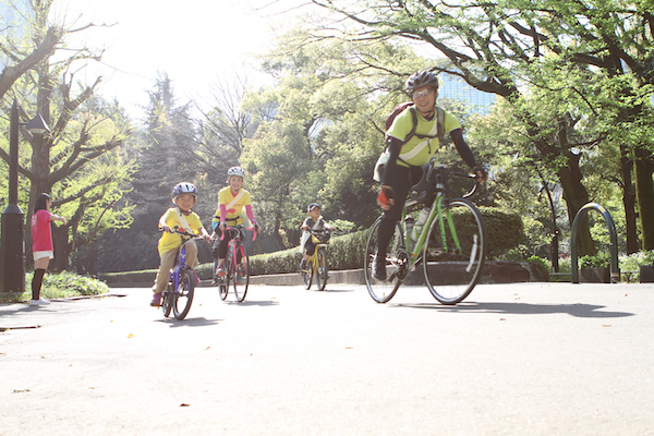 Cyclists on Bicycle Ride in Tokyo tour