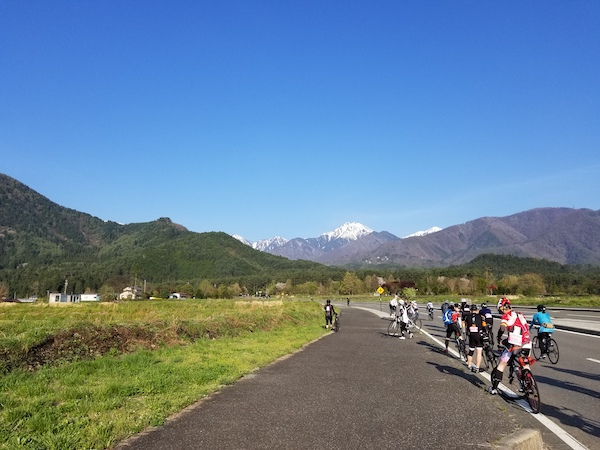 Cyclists taking photos in Nagano