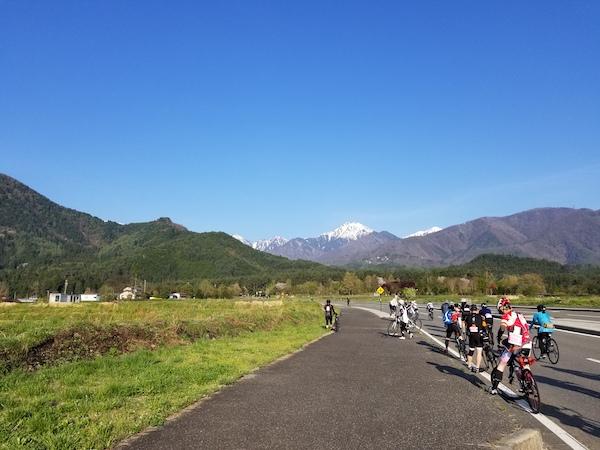 Cyclists taking photos in Nagano