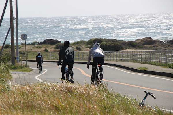 Cyclist riding on road in Chiba