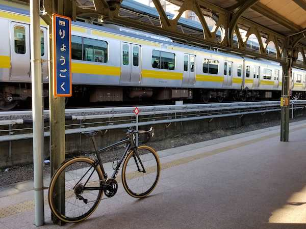 bike on train platform