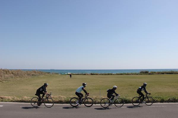 Cyclists riding along Boso Peninsula