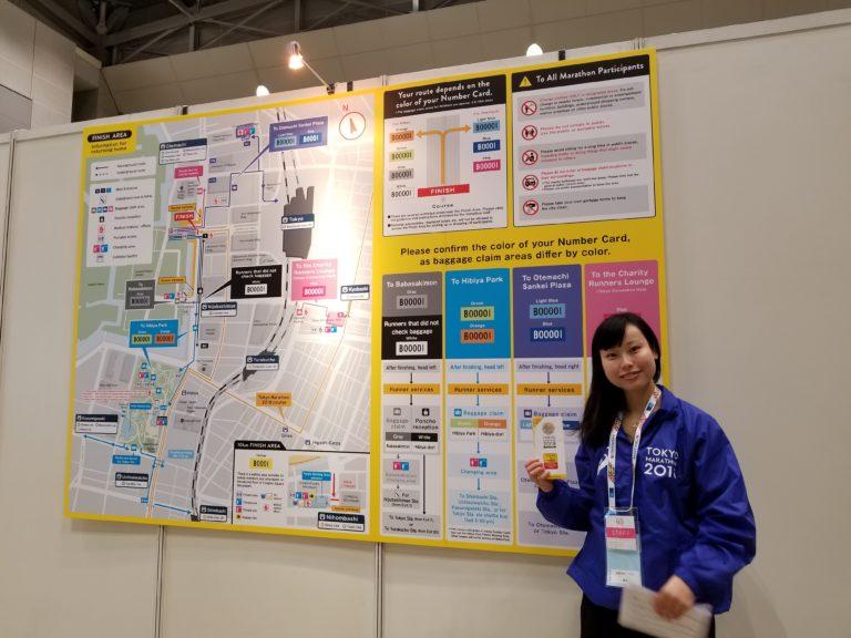 Tokyo Marathon staff next to map