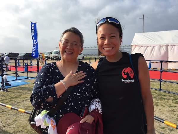 Faith and a onlooker at Ise Shima Triathlon