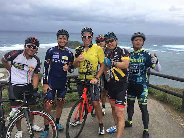 Group of cyclists in Okinawa