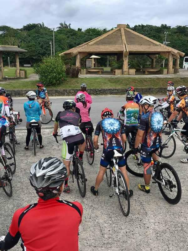 Cyclists getting ready to ride Okinawa