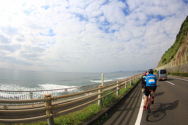 Cyclist riding along Miyazaki Nichinan coast