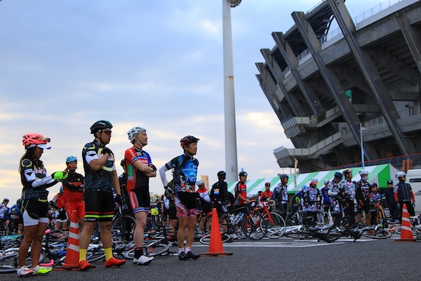 Cyclists awaiting start of ride in Japan