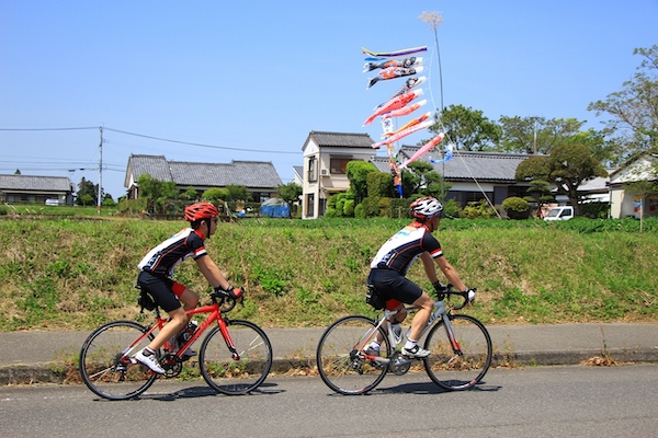 Cyclists riding through Miyazaki