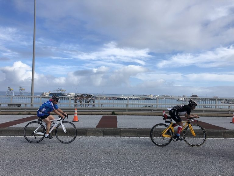 Triathletes on bike course of Okinawa International Triathlon