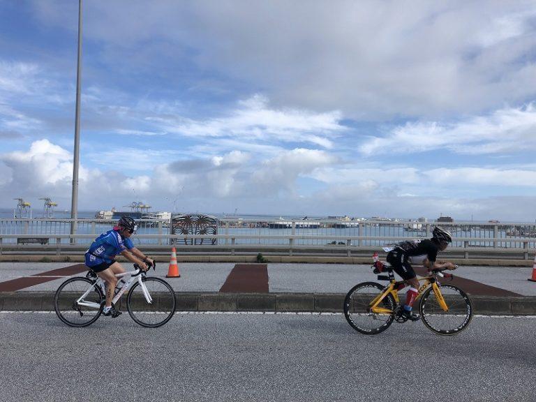 Triathletes on bike course of Okinawa International Triathlon
