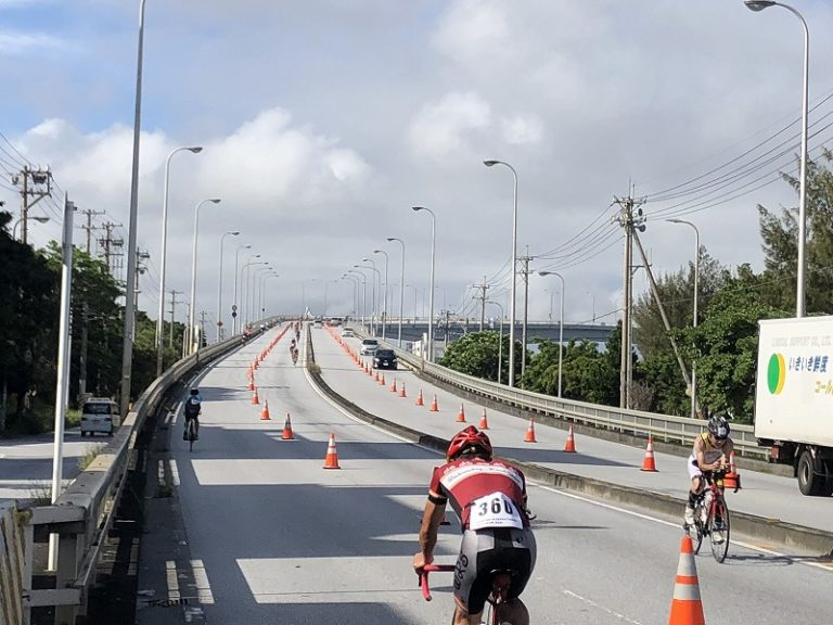 Athletes on bike course of Okinawa International Triathlon in Naha