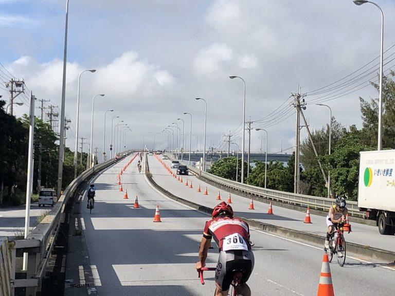 Athletes on bike course of Okinawa International Triathlon in Naha