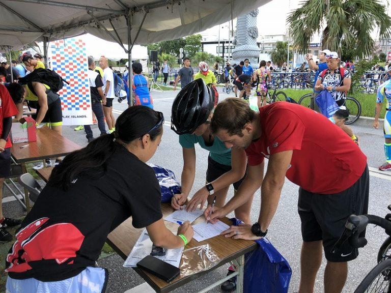 Athletes picking up forms for Okinawa international Triathlon