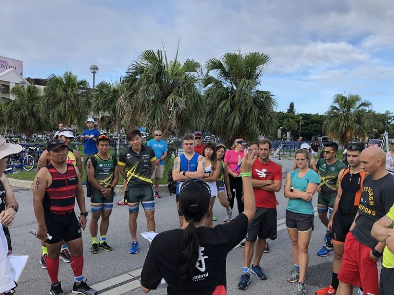 Race briefing at a triathlon in Okinawa