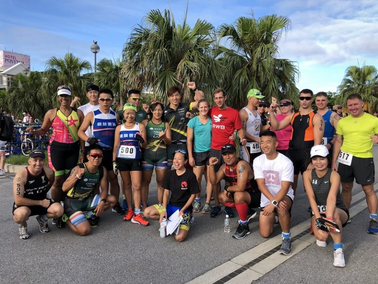 Samurai Sports participants posing before Okinawa International Triathlon