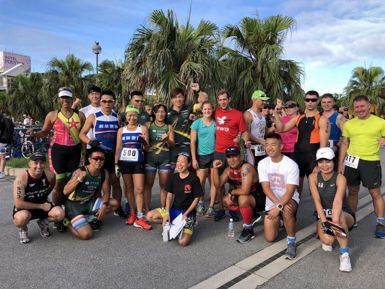 Samurai Sports participants posing before Okinawa International Triathlon