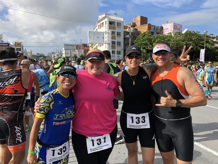 Samurai Sports participants and faith before Okinawa International Triathlon