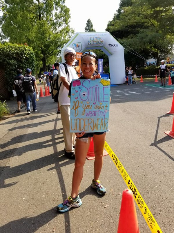 Funny encouraging sign during a race