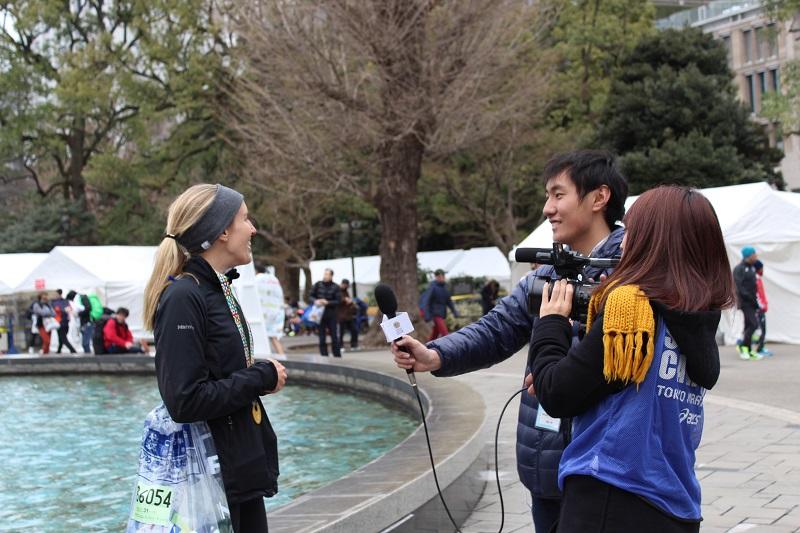 runner giving interview