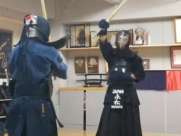 kendo athletes fighting