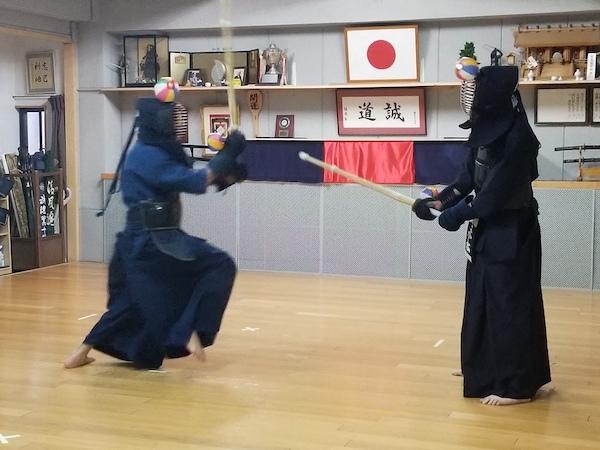 practicing kendo move