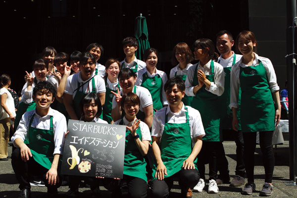 Starbucks staff serving at the Bicycle Ride in Tokyo event