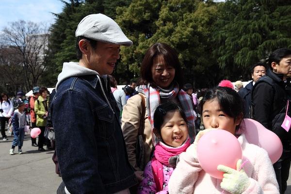 Family at Pink Ribbon Walk in Tokyo, Japan