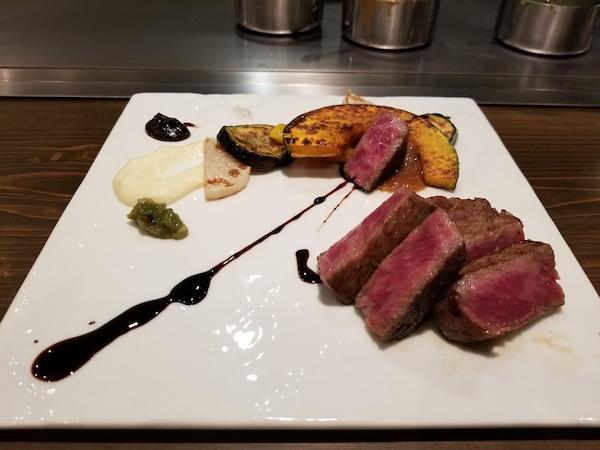 Kobe wagyu beef served on plate