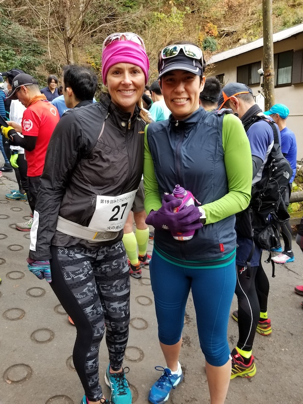 Two female trail runners at Mt. Mitake