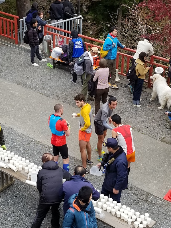 Trail runners chatting