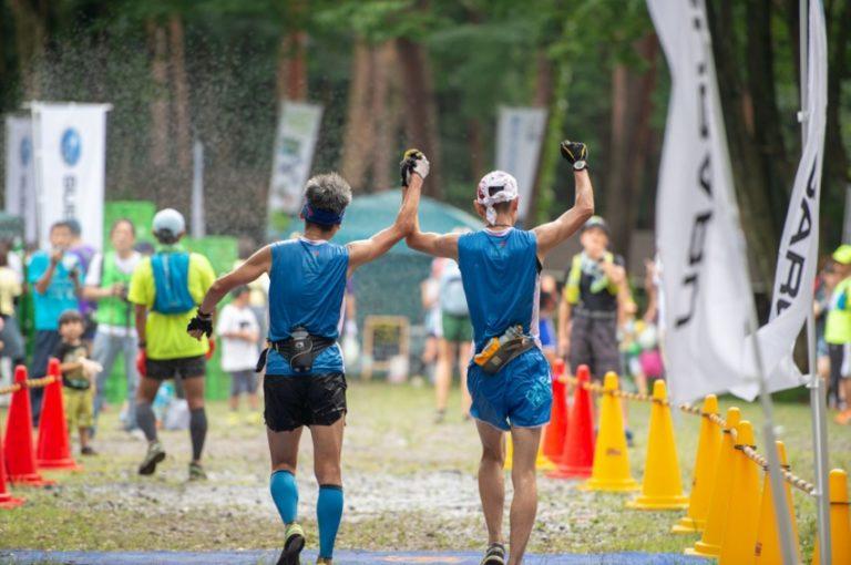 runners finishing akagi forest trail race