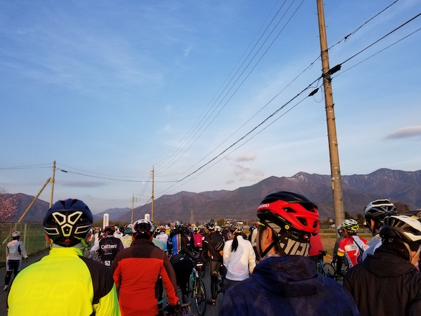 Cyclists waiting to start ride in Japan