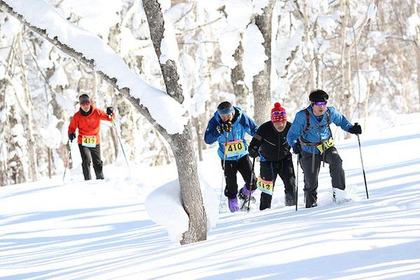 Group of snowshoe runners in Hokkaido