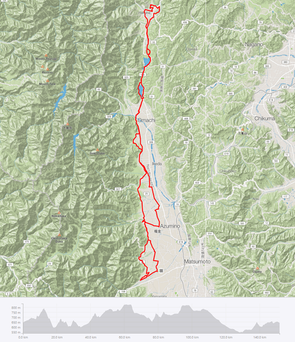 Alps Azumino Century Ride - Sakura course map